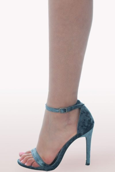 Grey Crushed Velvet Barely There Heels