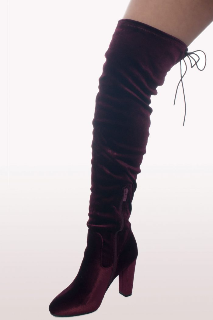Red Velvet Over The Knee Boots