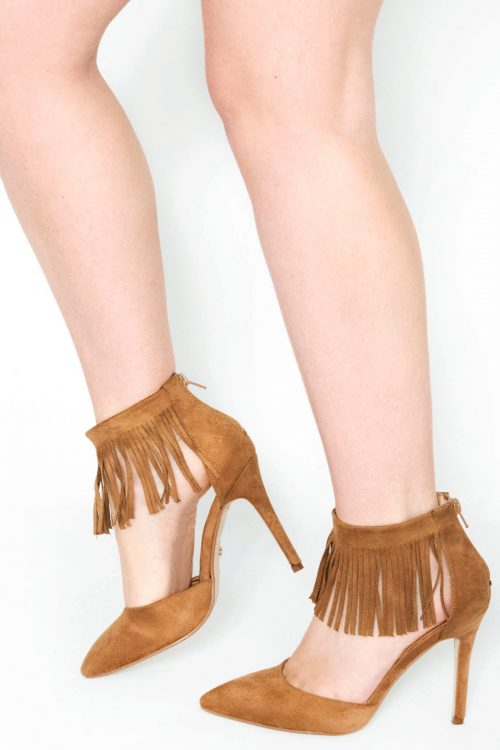 Jaimi Tan Fringe Stiletto Court Heels
