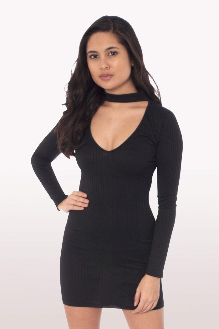 Black Choker Mini Bodycon Dress
