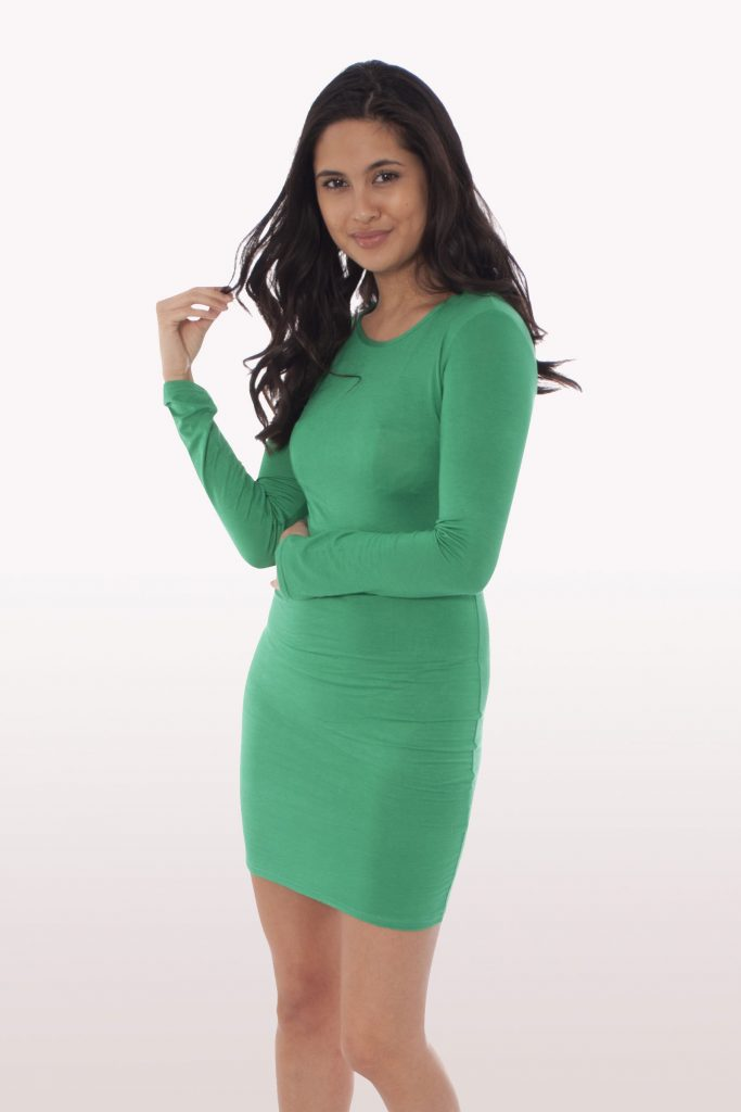 Jade Green Long Sleeve Bodycon Dress Dresses Modamore