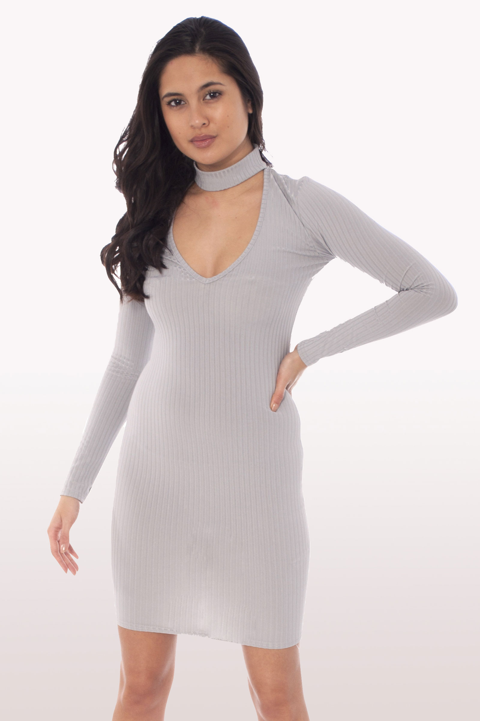 Light grey choker mini bodycon dress dresses modamore light grey choker mini bodycon dress ombrellifo Choice Image