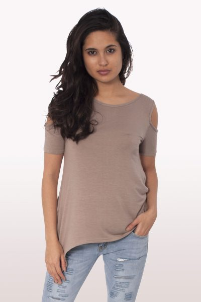 Mocha Cold Shoulder Hanky Hem Top