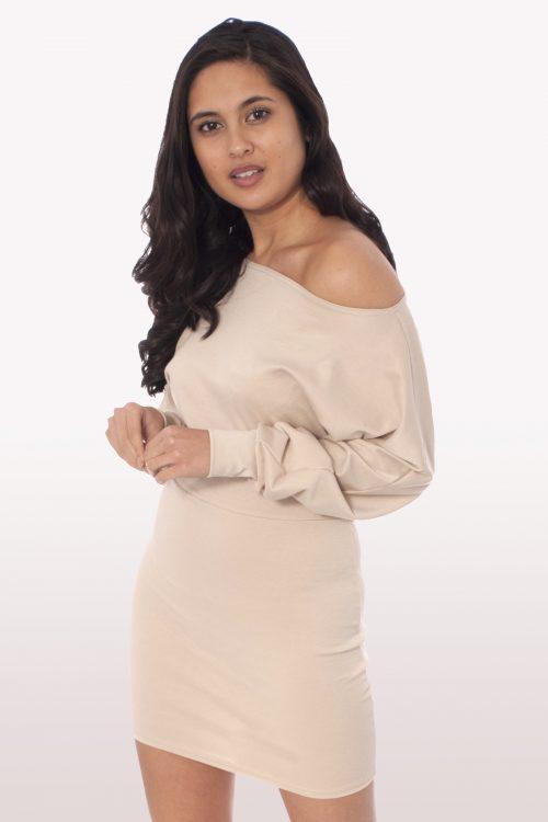 Stone Off Shoulder Batwing Dress