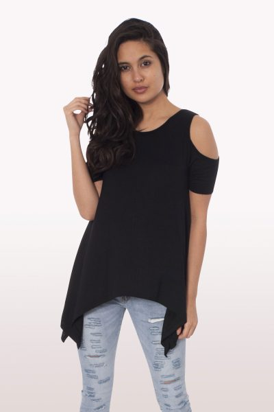 Black Cold Shoulder Hanky Hem Top