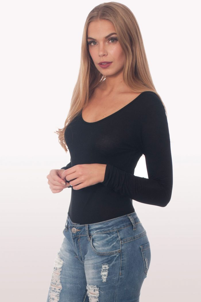 black scoop neck bodysuit