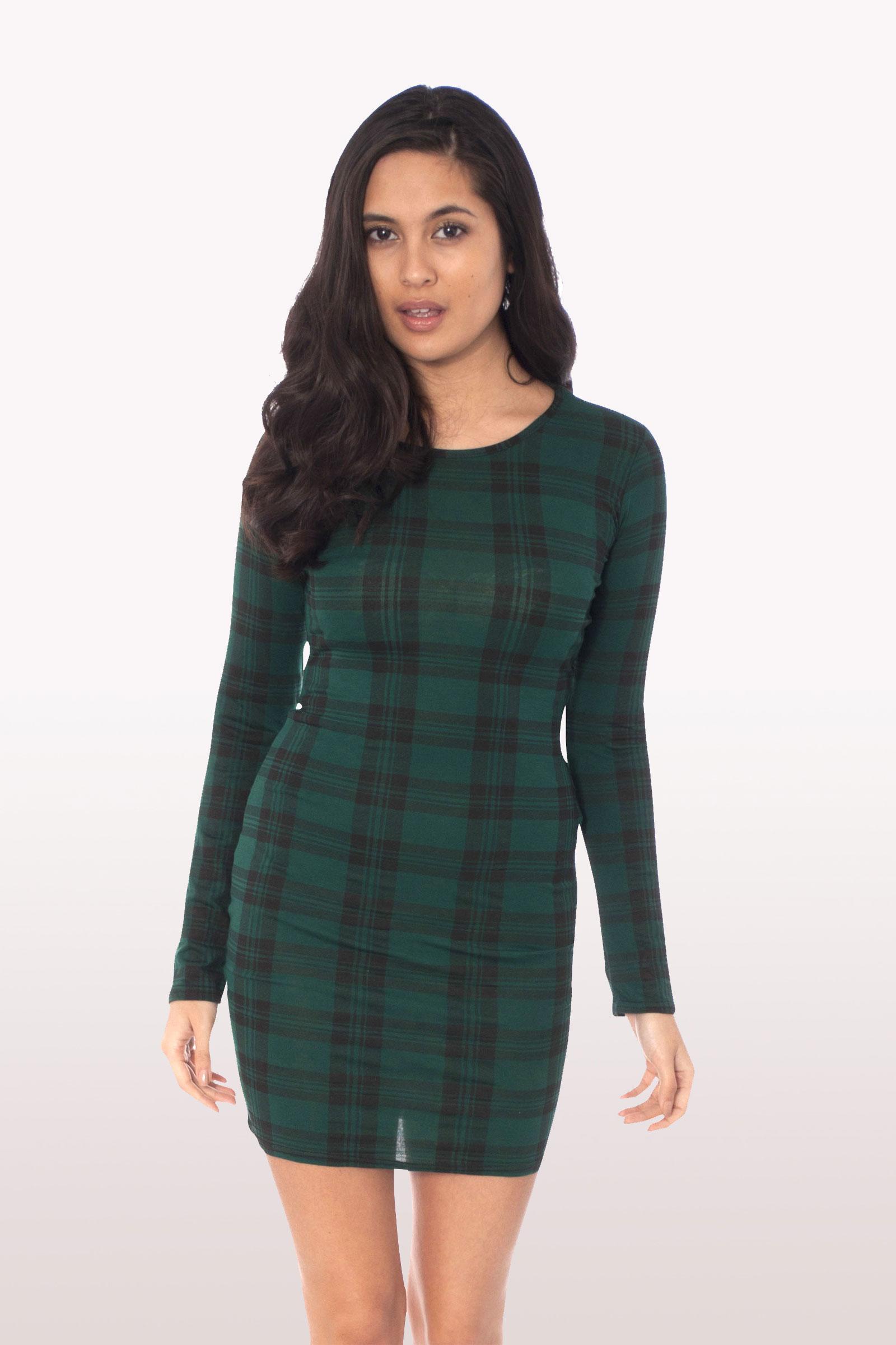 Bottle Green Tartan Long Sleeve Bodycon Dress Dresses