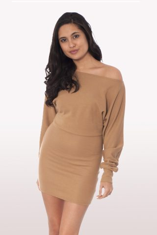 5311420024 Camel Off Shoulder Batwing Dress