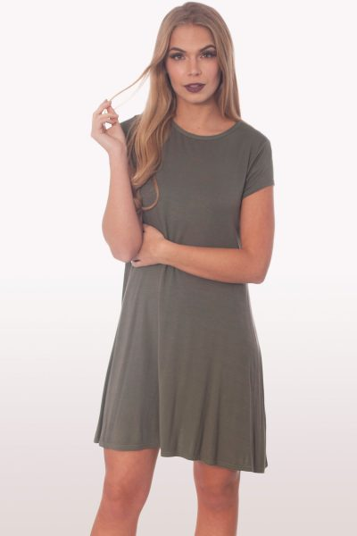 Khaki Short Sleeve Swing Dress