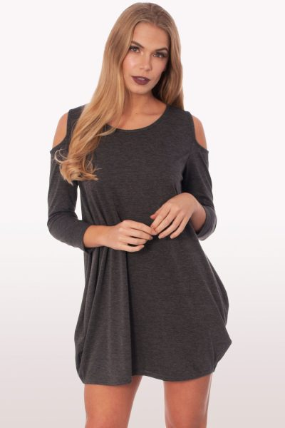 Charcoal Grey Cold Shoulder Batwing Top