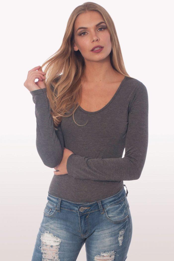 charcoal grey scoop neck bodysuit