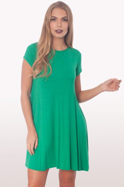 Jade Green Short Sleeve Swing Dress