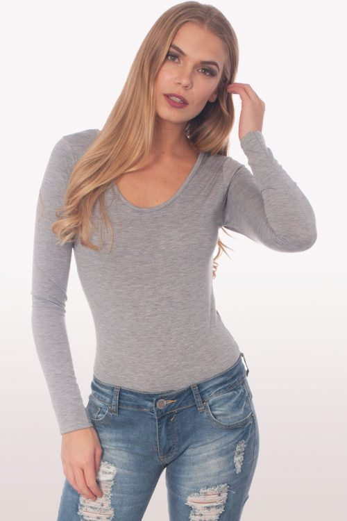 light grey scoop neck bodysuit