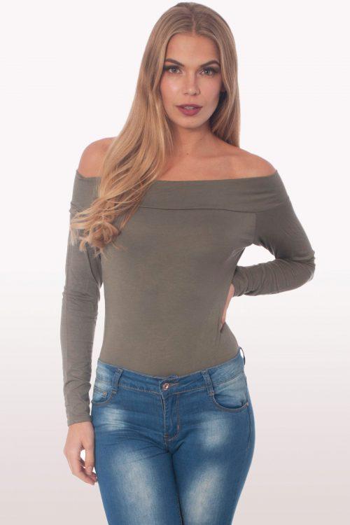 khaki bardot long sleeve bodysuit