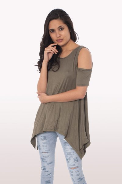 Khaki Cold Shoulder Hanky Hem Top