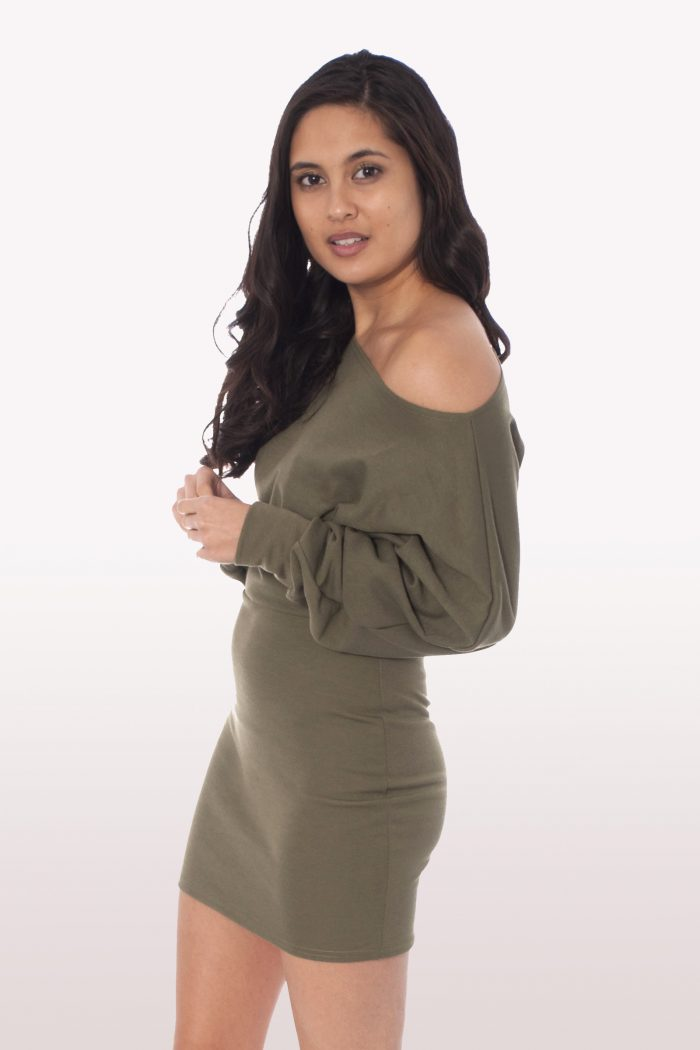 Khaki Bardot Mini Bodycon Dress