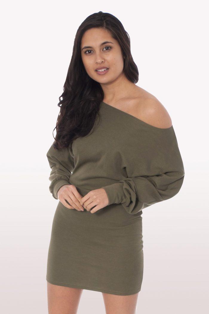 Khaki Bardot Mini Bodycon Dress