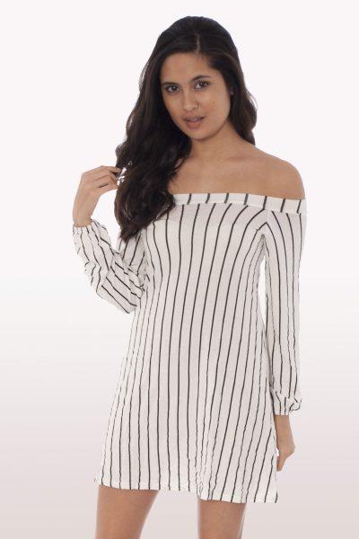 Stripe Bardot Swing Dress