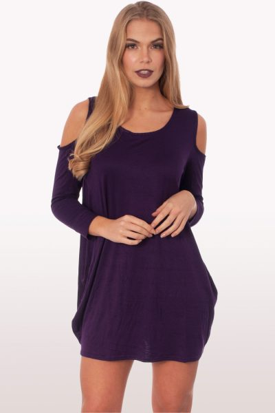 Purple Cold Shoulder Batwing Top