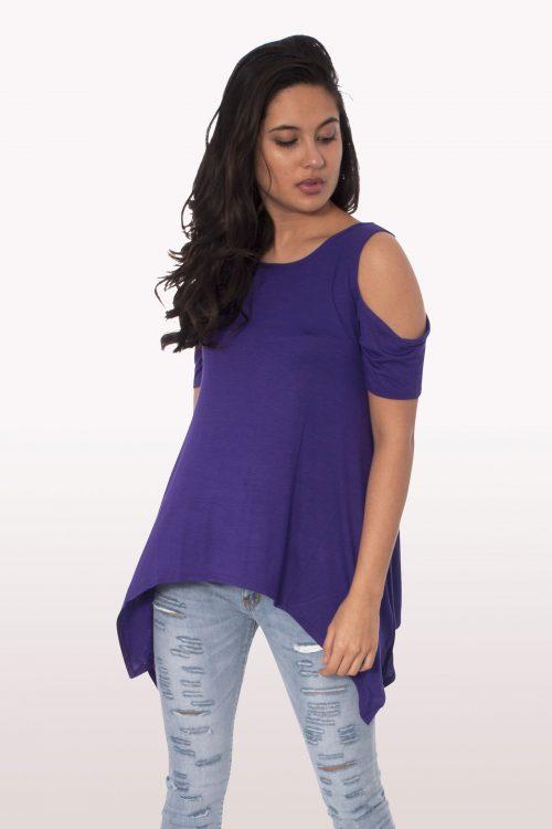 Purple Cold Shoulder Hanky Hem Top