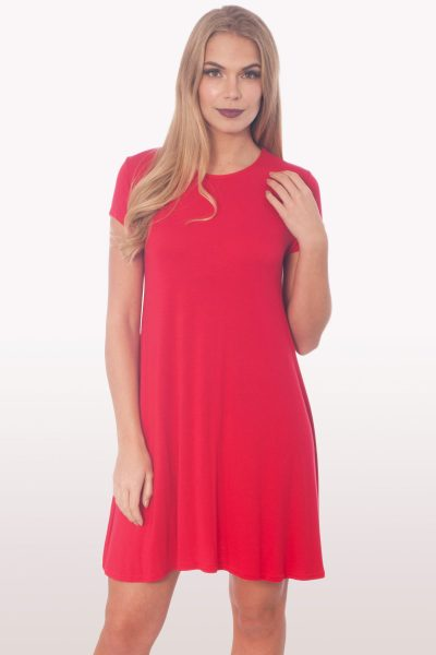 Red Short Sleeve Swing Dress