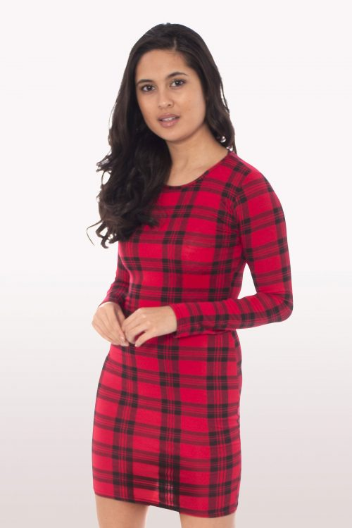 Tartan Long Sleeve Bodycon Dress