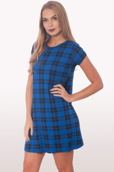 Royal Blue Tartan Short Sleeve Swing Dress