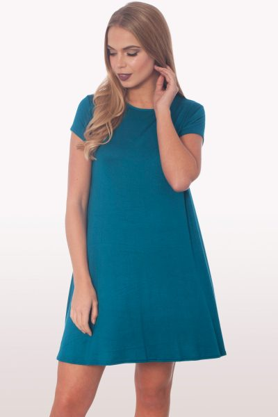 Teal Short Sleeve Swing Dress