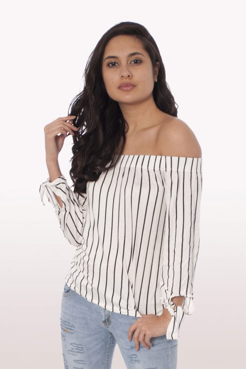 Stripe Bardot Tie Sleeve Top