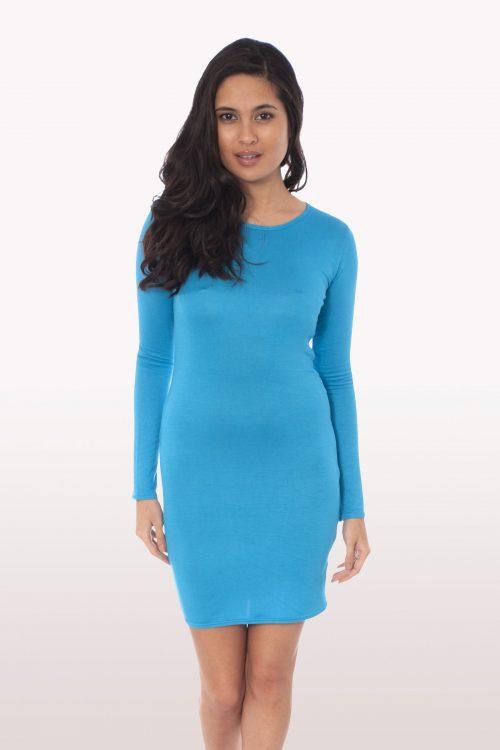 Turquoise Long Sleeve Bodycon Dress