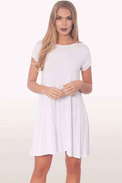 White Short Sleeve Swing Dress