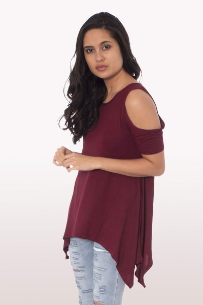 Wine Cold Shoulder Hanky Hem Top