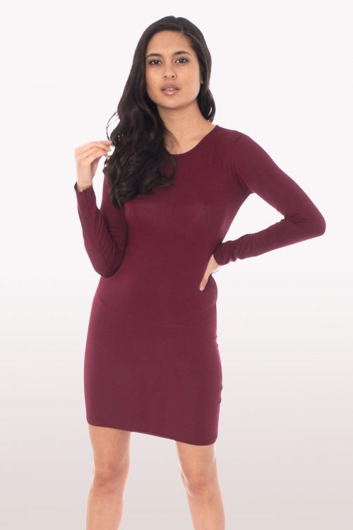 Wine Long Sleeve Bodycon Dress