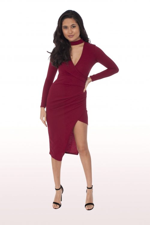 Wine Wrap Over Choker Midi Dress