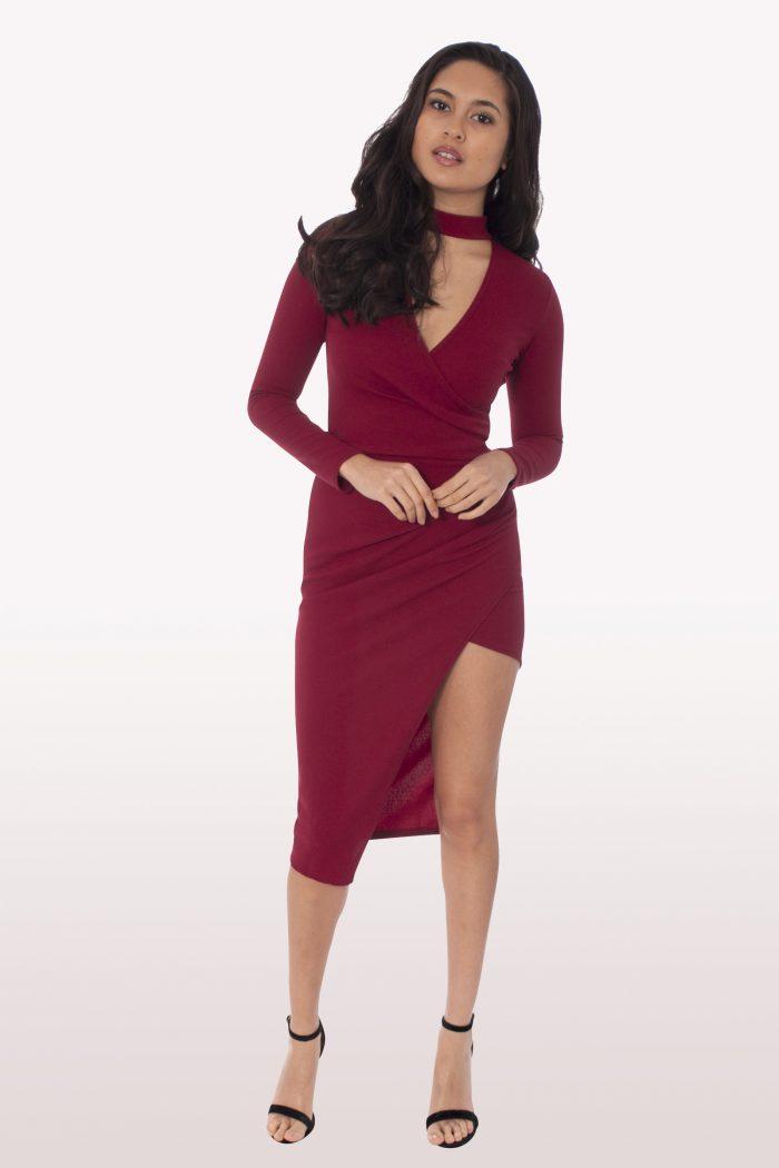 Wine Wrap Over Choker Midi Dress