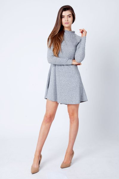 Charcoal Grey Ribbed Polo Neck Skater Dress