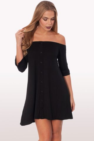 Black Bardot Button Front Dress