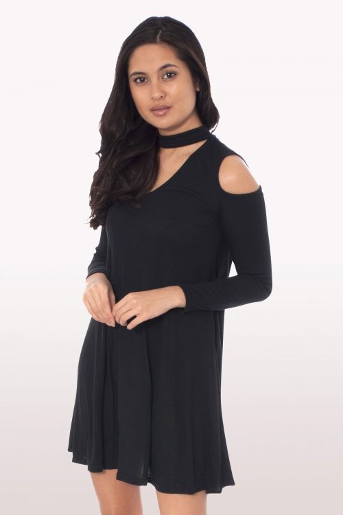 Black Choker Rib Cold Shoulder Swing Dress