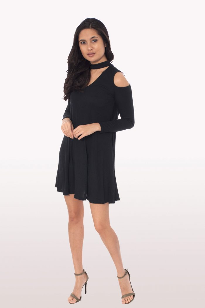Black Choker Rib Cold Shoulder Swing Dress