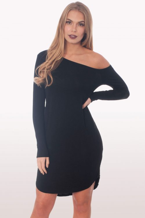 Black Dip Curved Hem Off The Shoulder Dress