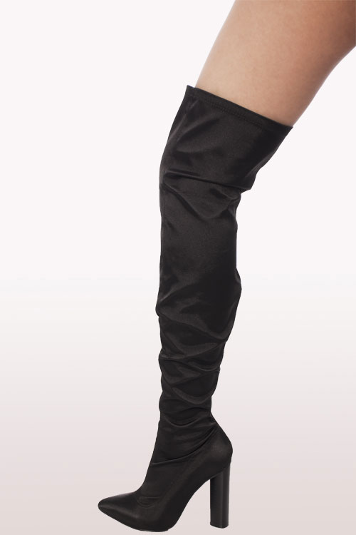 Black Satin Lycra Over The Knee Boots