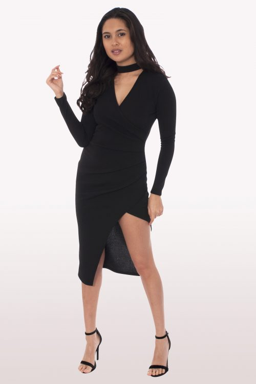 Black Wrap Over Choker Midi Dress