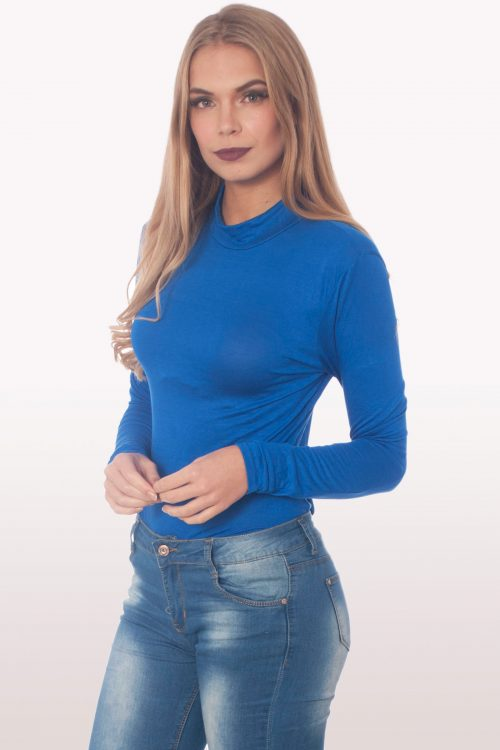 royal blue polo neck bodysuit