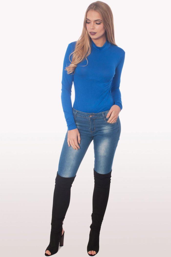 royal blue polo neck bodysuit