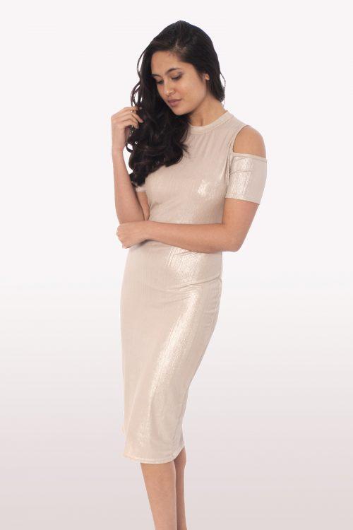 Blush Metallic Cold Shoulder Dress