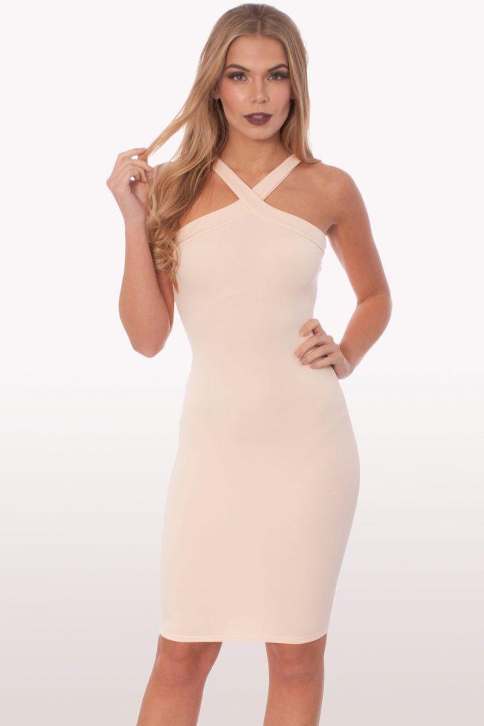 Blush Scuba Bodycon Midi Dress