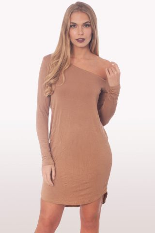 Camel Dip Curved Hem Off The Shoulder Dress
