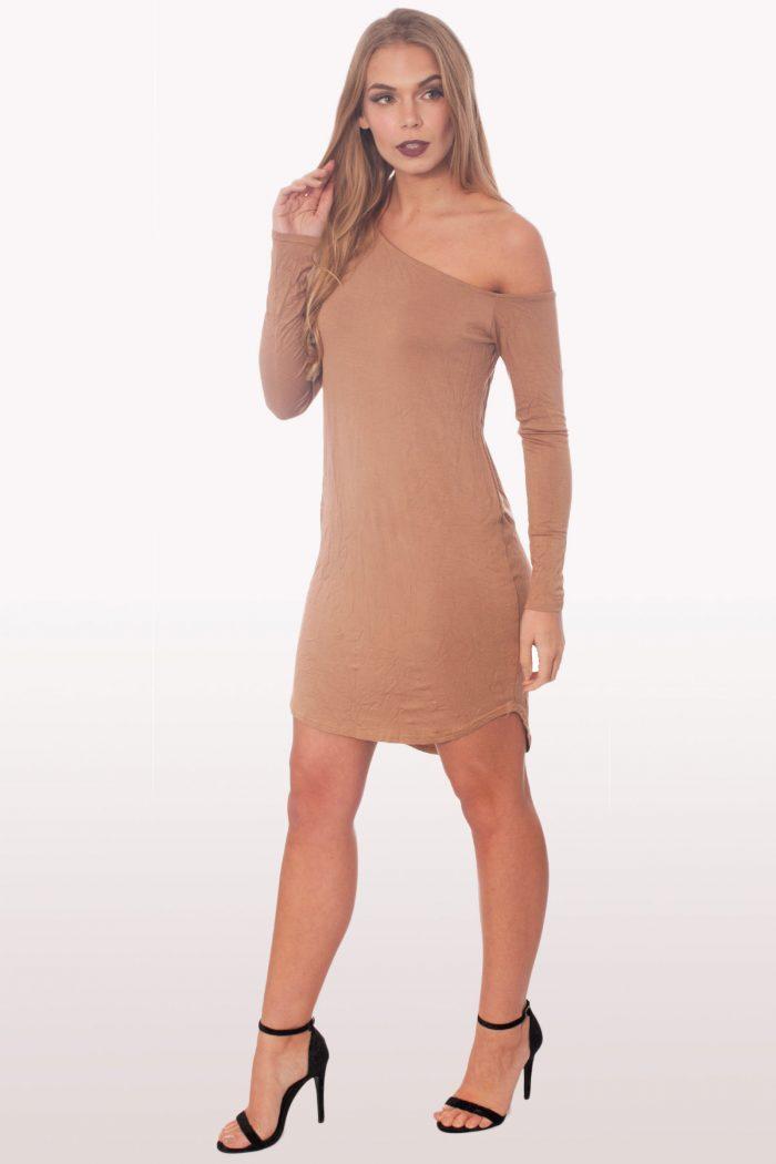 Camel Dip Curved Hem Off The Shoulder Dress