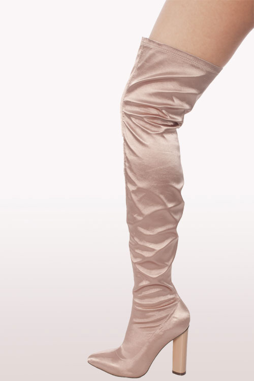 e9d4726e968 Champagne Satin Lycra Over The Knee Boots