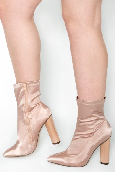 Laure Champayne Satin Lycra Ankle Boots